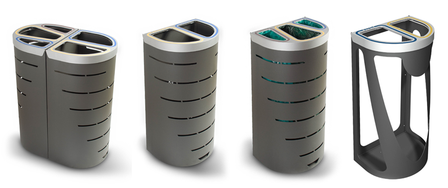 Nice Duo And Trio Recycling Bins